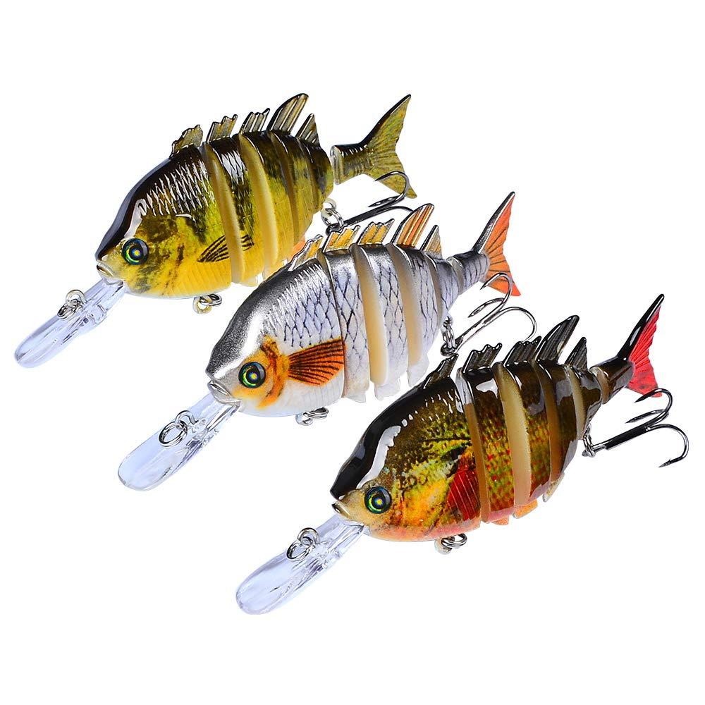Fishing Lures Bass Swimbaits Lure Crankbaits Artificial Bait Multi Jointed Lifelike Hard Baits Talipia Panfish Bluegill Sun Fish Tackle Kits 3 pcs/Set