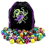Wiz Dice Bag of Devouring: Collection of 140 Polyhedral Dice in 20 Guaranteed Complete Sets for Tabletop Role-playing Games – Solids, Translucents, Swirls, Glitters, Alchemic Oddities
