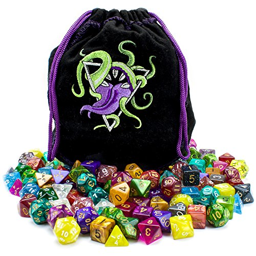 Wiz Dice Bag of Devouring: Collection of 140 Polyhedral Dice in 20 Guaranteed Complete Sets for Tabletop Role-Playing Games - Solids, Translucents, Swirls, Glitters, Alchemic Oddities