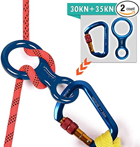 Locking Rock Climbing Carabiner D Hook Twist Screwgate Figure 8 Descender