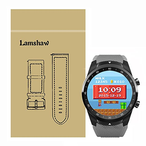 for TicWatch Pro Band, Lamshaw Classic Silicone Replacement Band for TicWatch Pro Bluetooth Smart Watch (Gray)