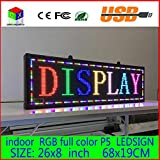 26''x 8'' Programmable Scrolling Message LED Display Sign led panel Indoor Board P5 full color