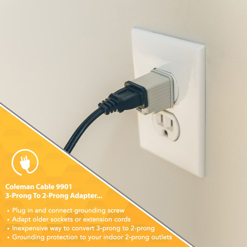 Coleman Cable 9901 3 Prong To 2 Adapter Grounding Outlet Oven Electrical Cord Plug Wiring 4 Converter Pack Plates