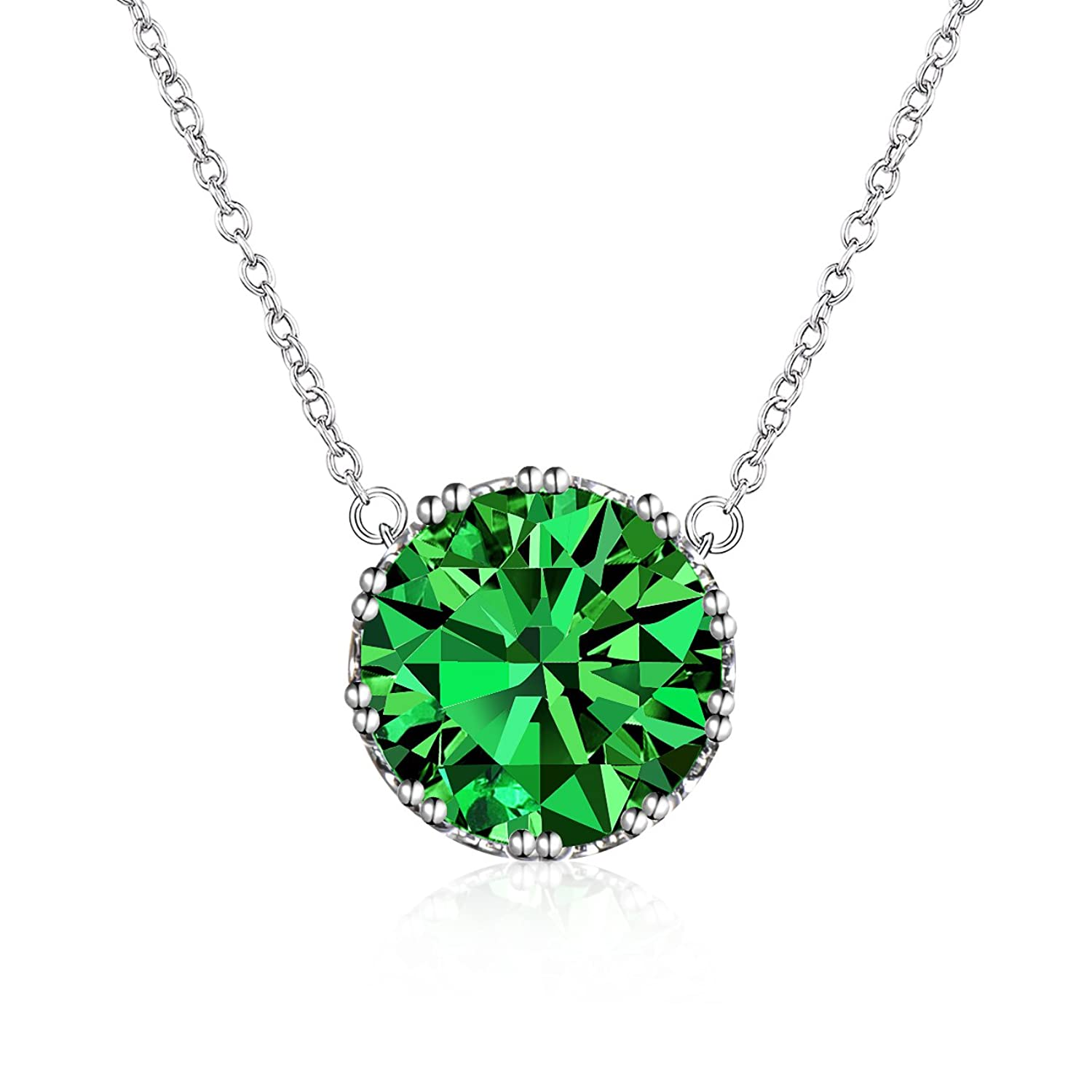 Beyond Love 2.25 Ct Round Cut Emerald Cubic Zirconia CZ Solitaire Pendant Necklace for Women(16