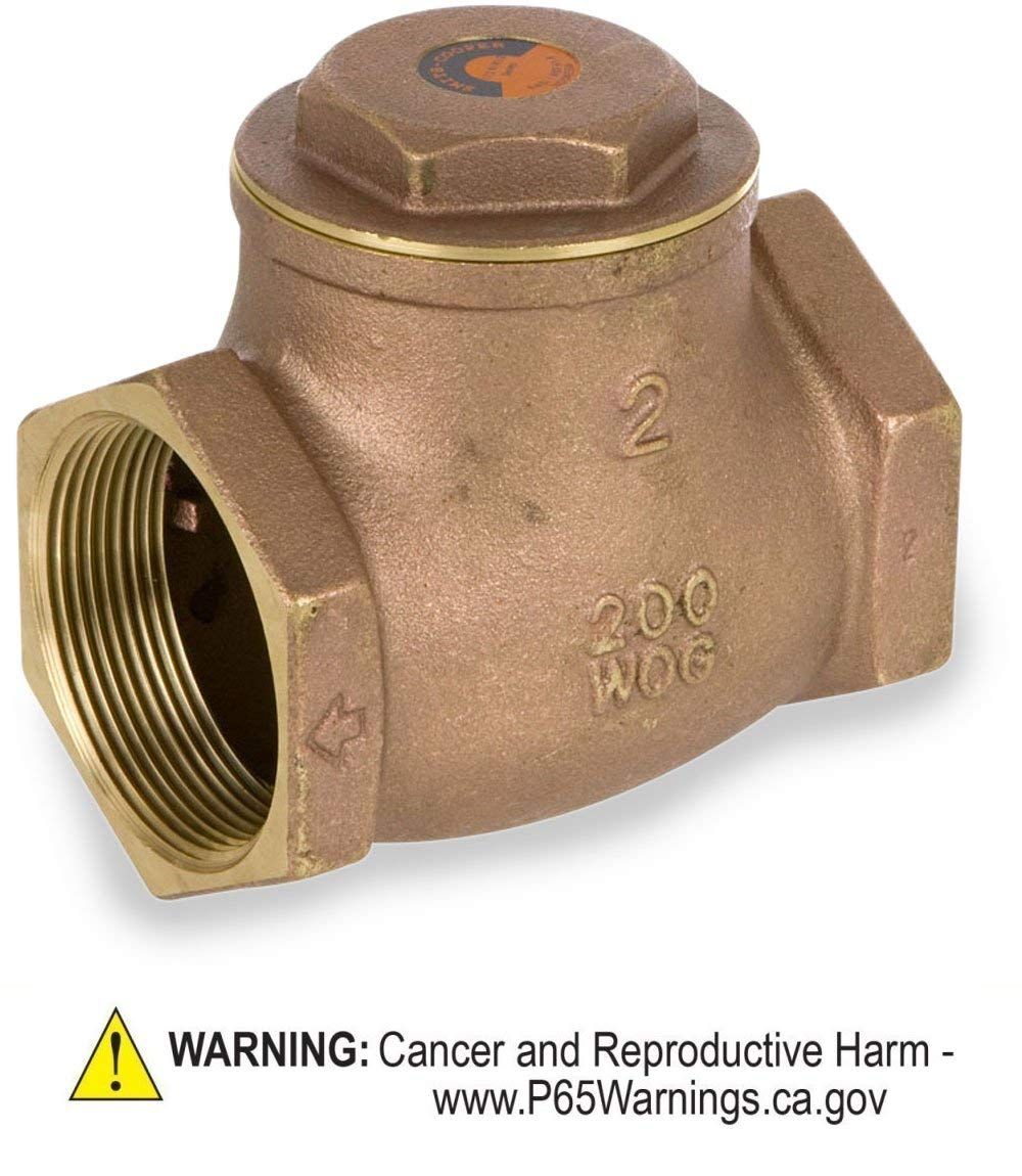 Smith-Cooper International 9191 Series Brass Swing Check Valve, 2'' NPT Female, Non-Potable Water Use Only