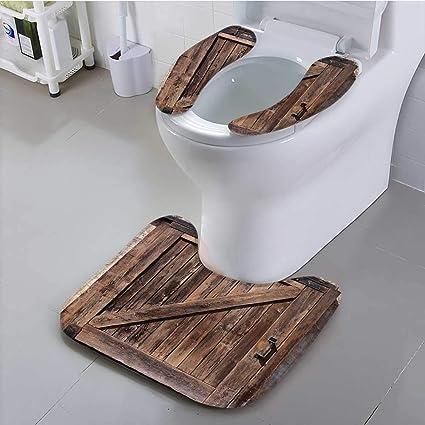 Leighhome - Alfombrilla de baño Antideslizante para baño (Roble rústico, diseño de casetas de