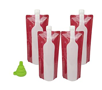 Botella de vino bolsa termo, hapway 4 Pack portátil reutilizable Flexible plegable plegable leekproof botellas