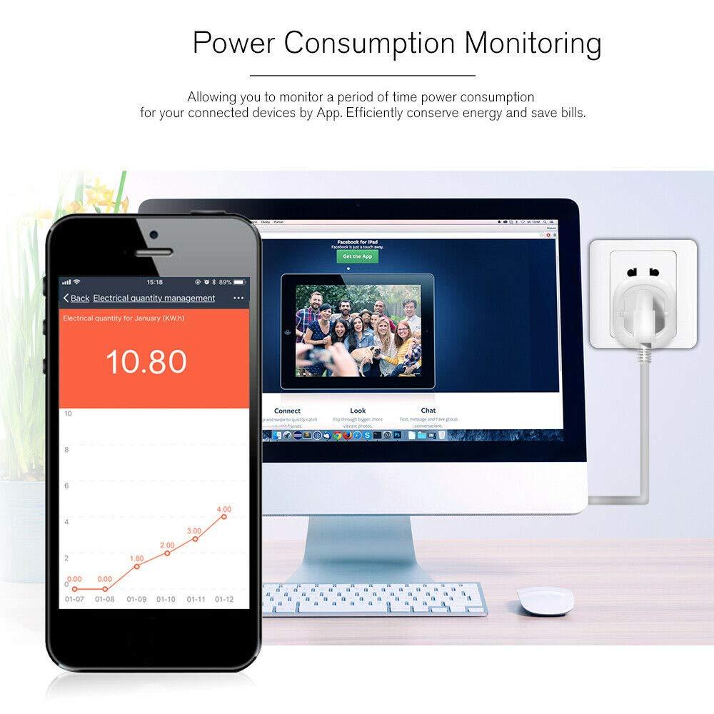 Google Home Smart Timer Plug Control de Voz Inicio Trabajando con  Alexa DAIFA Enchufe Remoto inal/ámbrico WiFi