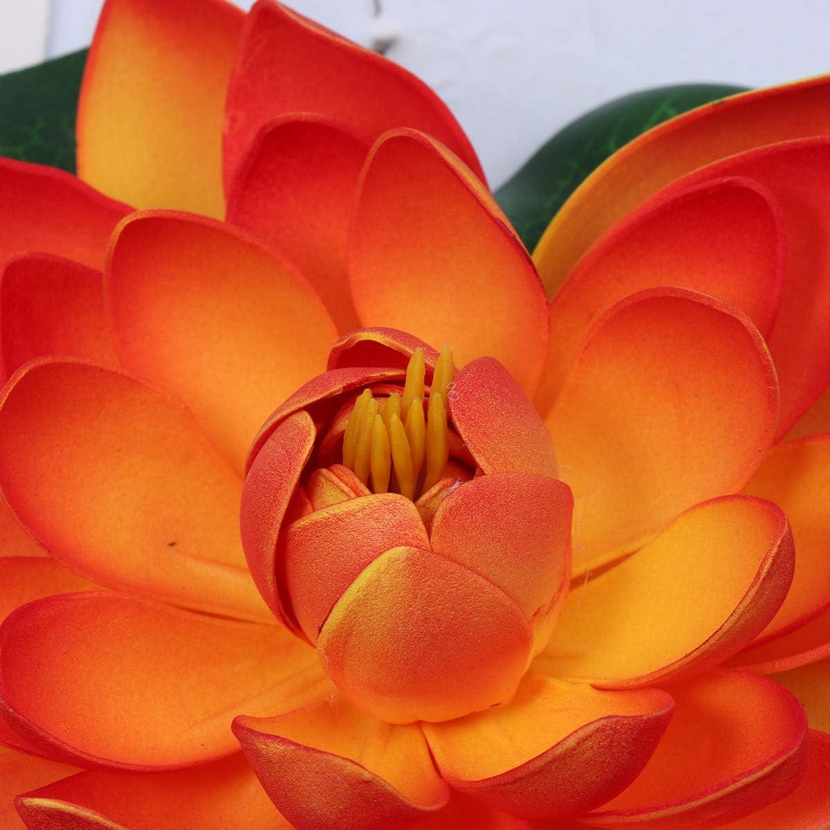 Yardwe Artificial Floating Lotus Flowers Artificial Water Lily Pads Vivid Flower Ornaments for Aquarium Home Garden Decor