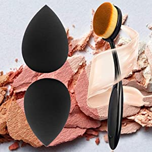 materasu original 2+1Set real latex free beauty roud makeup egg shaped BB Cream sponge Oval Brush foundation cleaners under 5dollars for travel