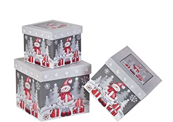 3 piece christmas nesting gift boxes elegant and fun snowman designs nested hard christmas boxes