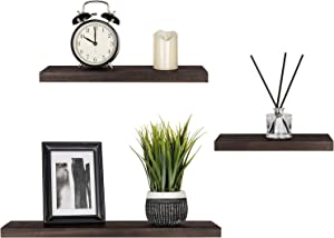 "Mkono Floating Shelves Wood Wall Shelf Rustic Modern Shelf Set of 3 Photo Display Ledges with Invisible Bracket for Living Room Bedroom Bathroom 4"" Deep, Dark Brown"