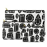 Society6 Carry-All Pouch, gemstone black and white by susycosta Set of 3