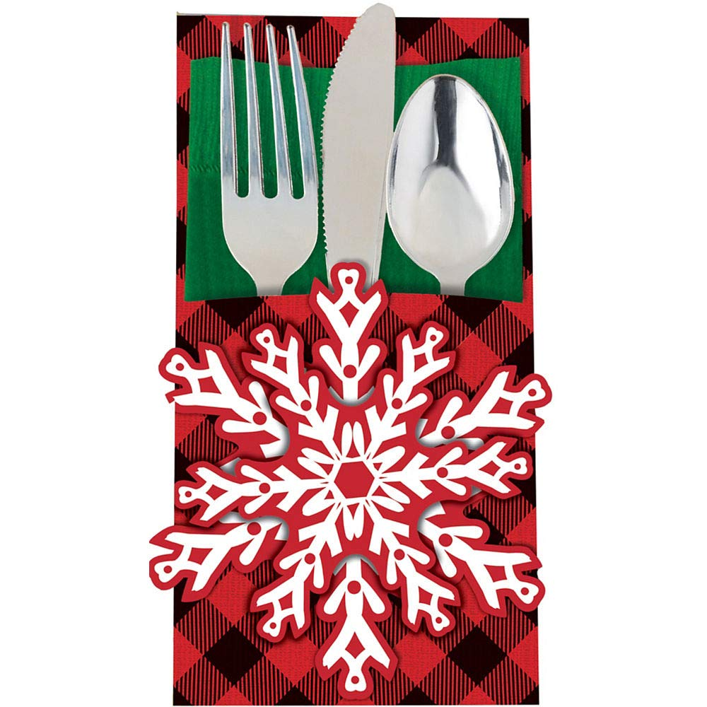 24Ct Cozy Holiday Cutlery Holders - Winter Snowflake - Holiday Celebrations Christmas New Years Eve