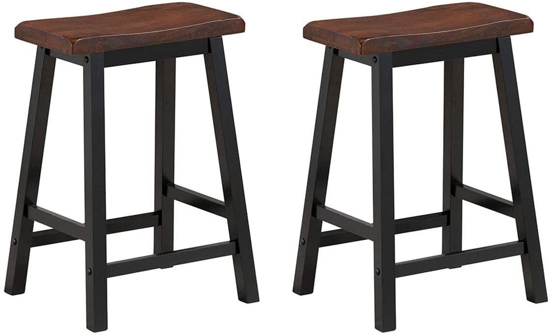 """COSTWAY Saddle Seat Stools, Wood Vintage Counter Height Chairs, Modern Backless Design Indoor Furniture for Kitchen, Dining, Pub and Bistro, Set of 2 (24"""" H Brown)"""