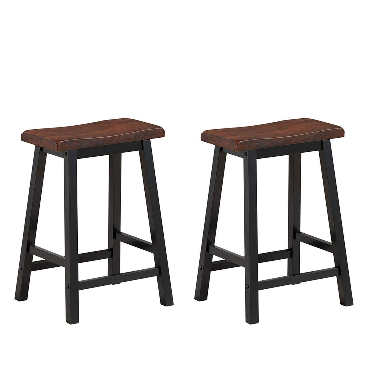3ee03d66ca3b Amazon.com - COSTWAY Saddle Seat Stools Set of 2 Wood Vintage Counter Height  Bistro Dining Kitchen Pub Side Chairs (24