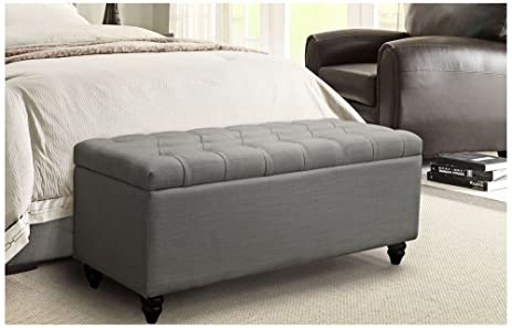 Park Ave Tufted Lift Top Storage Trunk By Diamond Sofa   Grey  # PARKAVETRGR