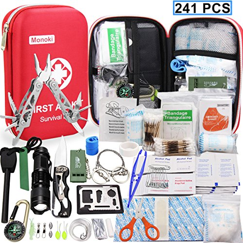 First Aid Kit Survival Kits, Monoki 241Pcs Upgraded Outdoor Emergency Survival Kit Gear – Medical Supplies Trauma Bag Safety First Aid Kit for Home Office Car Boat Camping Hiking Hunting Adventures