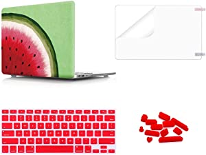 WYGCH 4 in 1 Summer Watermelon Plastic PC Hard Case Shell+ Keyboard Cover+ Screen Protector+ Dustproof Plug Compatible MacBook Air 13 inch (Models: A1369 and A1466)