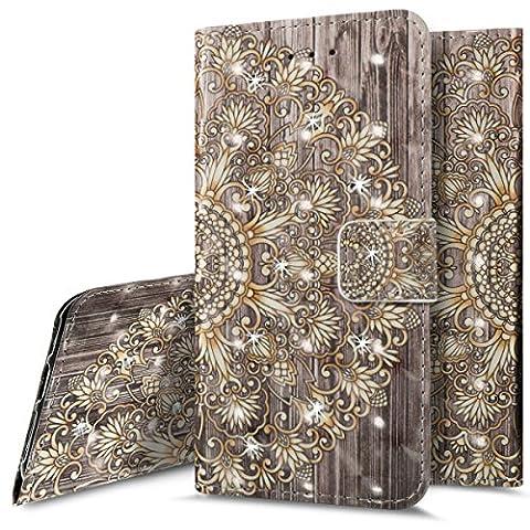 iPhone 5S Wallet Case,iPhone SE Flip Case, PHEZEN Elegant 3D Bling Creative Gold Flowers Pattern Design PU Leather Wallet [Kickstand] [Card/Cash Slots] Protective Flip Case Cover for iPhone (Flip Cover Iphone 5 Bling)