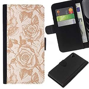 KingStore / Leather Etui en cuir / Sony Xperia Z2 D6502 / Wallpaper Roses Vintage Flores retras Arte