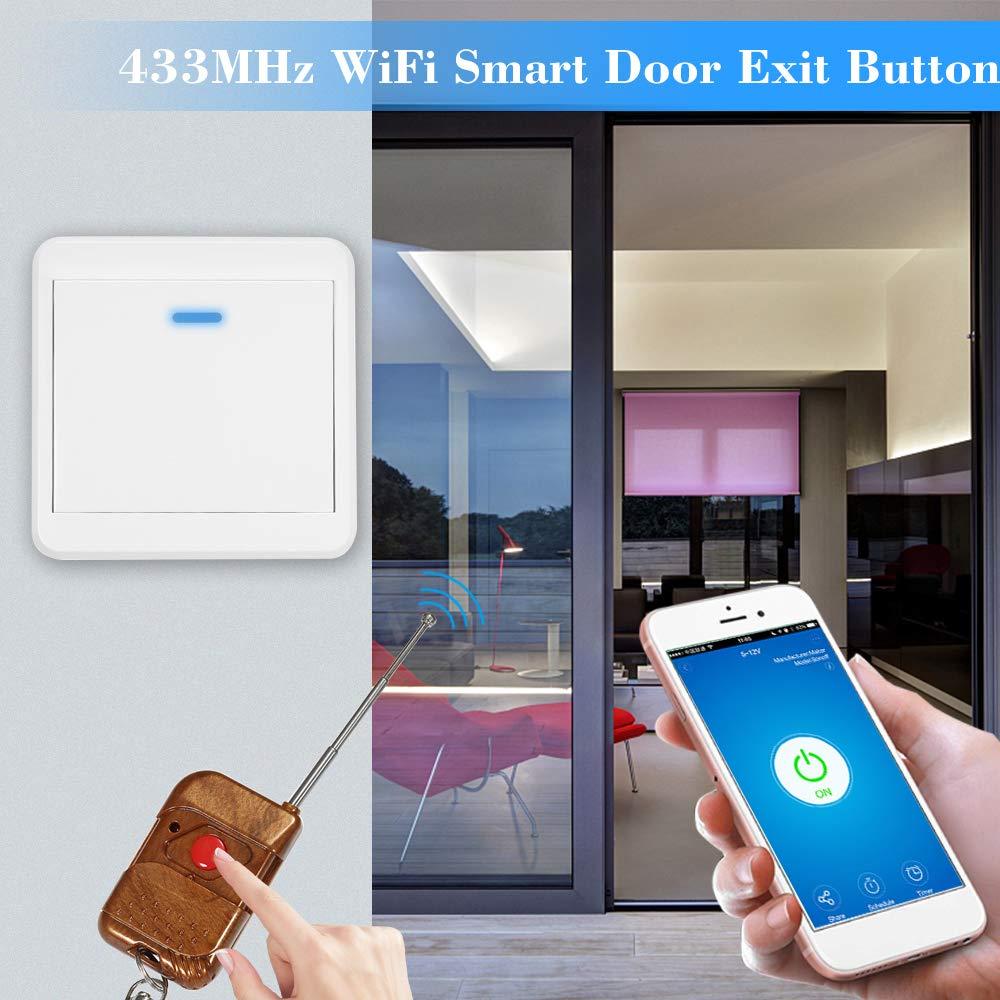 SONOFF 433MHz Interruptor WiFi Inalámbrica para Cerradura Electrónica Sistema de Control de Acceso Soporte Control Remoto de Phone App Compatible con Amazon ...
