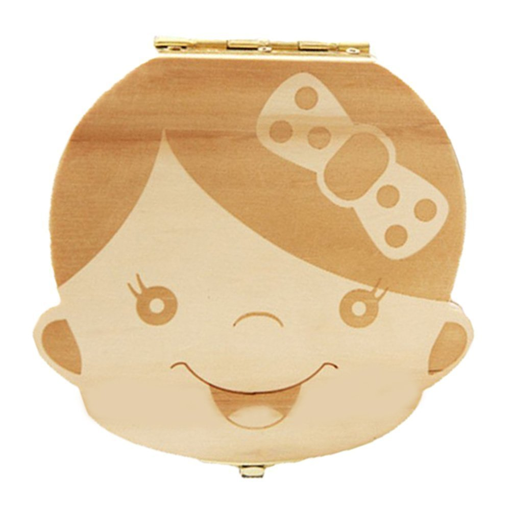 Baby Teeth Box, Wooden Teeth Save Box Souvenir Box Teeth Collection (English, Girl) Amlx English-Girl