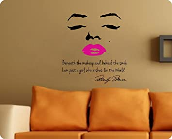 48 Large Marilyn Monroe Wall Decal Decor Quote Face Pink Lips Nice  Sticker