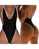 CROSS1946 Sexy Womens Monokini Deep V One Piece Backless Cheeky Swimwear Semi Thong Bikini