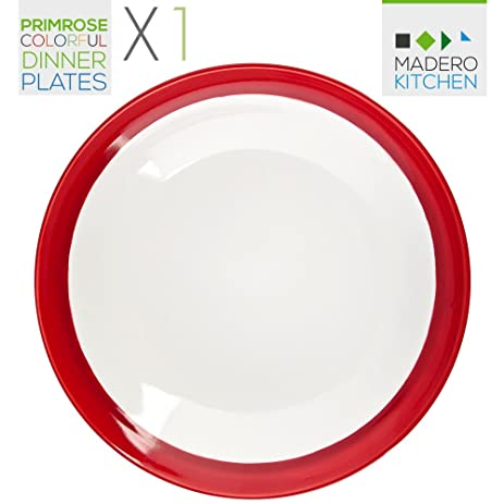 Primrose Colorful Dinner Plates X1 RED by Madero Kitchen - Single LARGE SIZE Ceramic Plate -  sc 1 st  Amazon.com & Amazon.com | Primrose Colorful Dinner Plates X1 RED by Madero ...