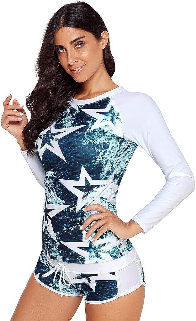 FEDULK Women Two Pieces Swimwear Long Sleeve UV Sun Protection UPF 50 Rash Guard Tops Surfing Swimsuit Set
