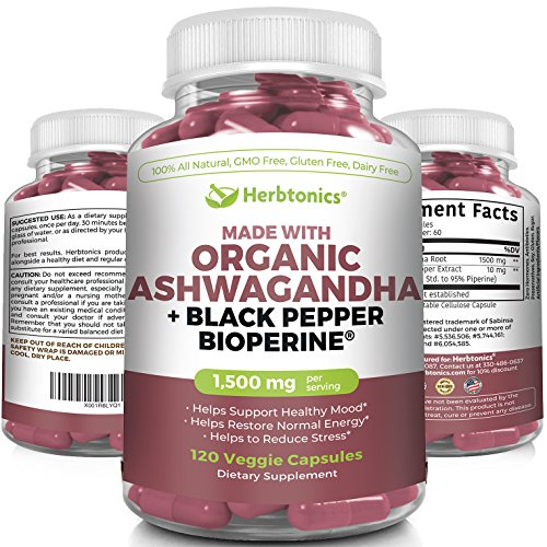 Organic Ashwagandha with Black Pepper(Bioperine) 1500 MG l 120 Capsules- Supplement- Mood Supplement- Ashwagandha Vegetarian Capsules Stress Anxiety Supplement Stress Support & Mood Enhancer Support by Herbtonics
