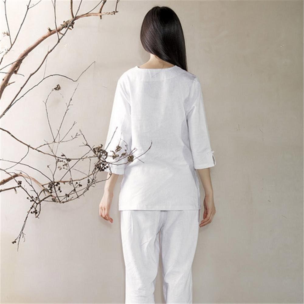 peiwen Biancheria di Cotone comodit/à Sciolto Yoga Copre i Vestiti//Tops Pants//Meditazione