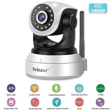 Cámara IP Wifi, Sricam HD 1080P Cámara de Vigilancia Interior ...
