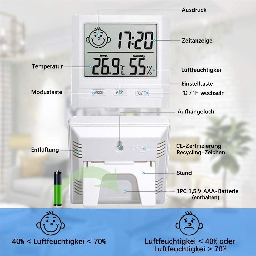 Upworld 2 St/ück Hygrometer Innen Schwarz,Mini Thermometer Innen Hygrometer Digital Messger/ät mit Zeitanzeige,Hygrometer Feuchtigkeit f/ür Zuhause,B/üro,Pflegezimmer,und Mehr Batterie eingeschlossen