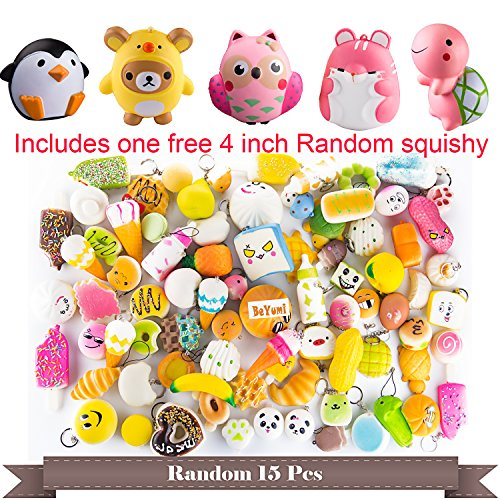 BeYumi Random 16 PCS Squishy Toys(Including 15 PCS Mini + 1 PC Free Big Squishies),Kawaii Soft Cream Scented Slow Rising Food and Animals for children toy Package Mini