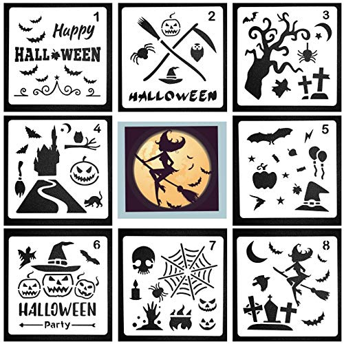 8 Pack Halloween Stencils Bullet Journal Stencil Template | Ideas 6x6 Inch - Use on Cookies, Wall, Glass, Fabrics, Wood, Cards, Posters, and More