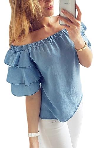 Las Mujeres Camiseta De Manga Con Volantes Vestido De Túnica De Verano Solido Top Tee