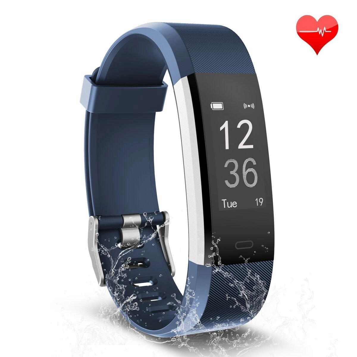 Fitness Tracker, Waterproof Activity Tracker Heart Rate Monitor Bluetooth Smart Watch Bracelet Wristband Sleep Monitor Pedometer with Replacement Strap for Android and IOS Smartphone (black-red)