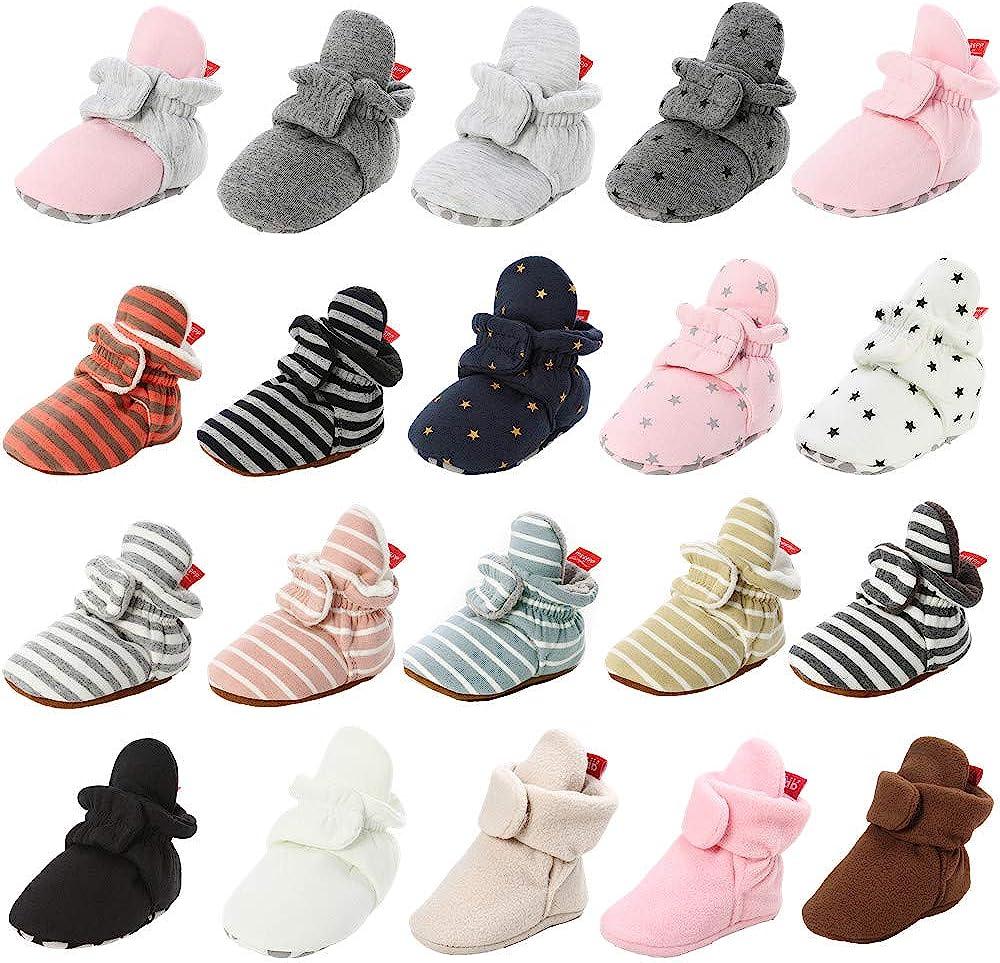 HsdsBebe Unisex Newborn Baby Cotton Booties Non-Slip Sole for Toddler Boys Girls Infant Winter Warm Fleece Cozy Socks Shoes