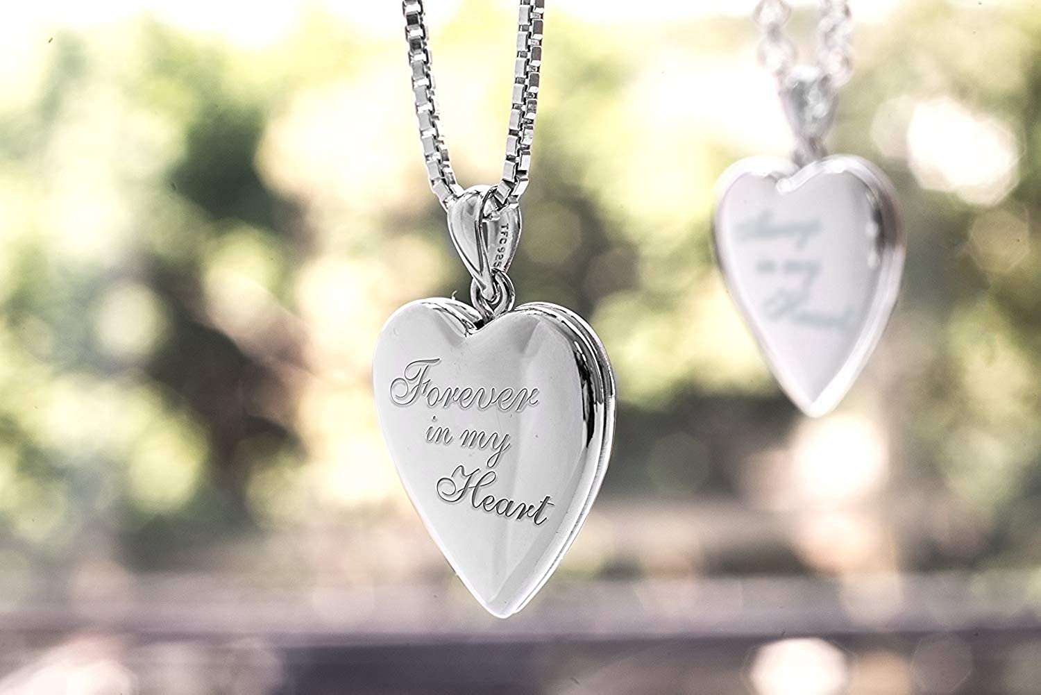 PicturesOnGold.com Forever in My Heart Locket Necklace Pendant in Sterling Silver Includes 18 inch Chain 2//3 Inch X 2//3 Inch
