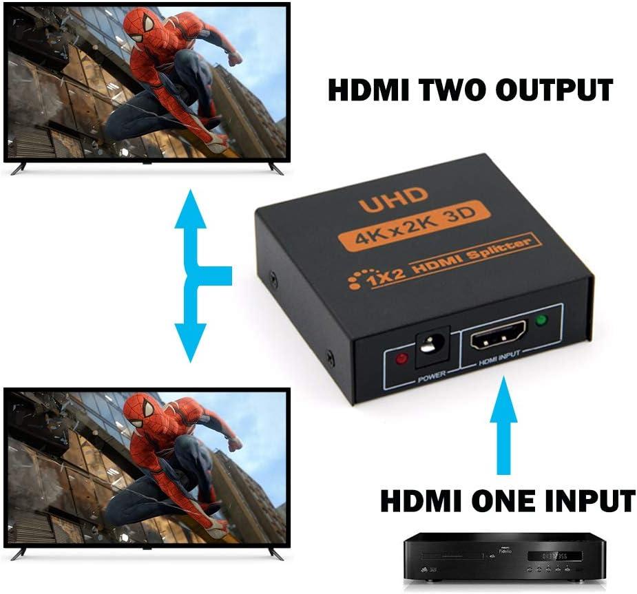 1x2 Splitter HDMI Supporta 3D 4K x 2K @ 30HZ Full HD 1080P Supporta due TV o adattatore multi monitor contemporaneamente nero Splitter HDMI 1 in 2 Out