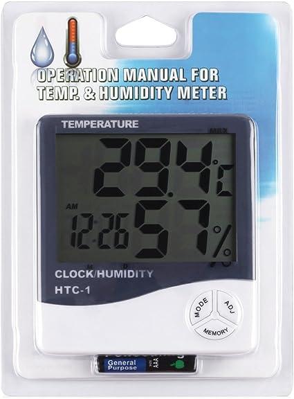 Monitor De Humedad Higr/ómetro Digital De Habitaci/ón Y Medidor De Temperatura Instrumento De Medici/ón De Sauna Term/ómetro De Temperatura Digital Negro HITECHLIFE Sensor De Term/ómetro Inal/ámbrico
