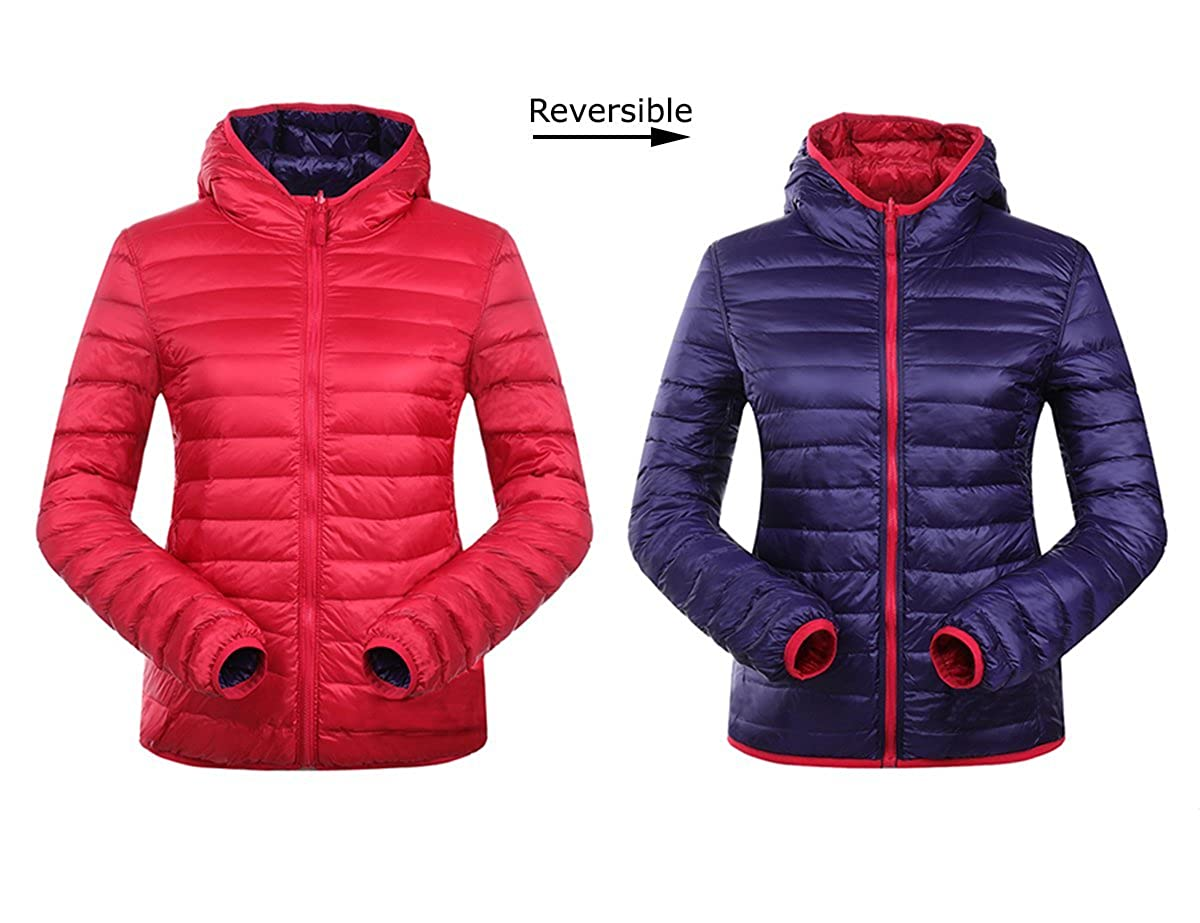 bb3586814 JJMG New Reversible Hooded Ultra Light Weight Warm Down Lightweight ...