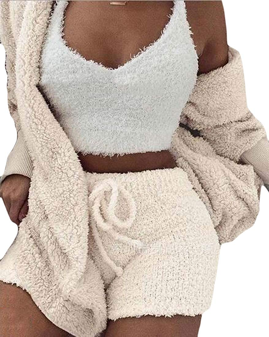 jmwcca-da Womens 3 Piece Outfits Fuzzy Fleece Cardigan and Tank Top Shorts Sets