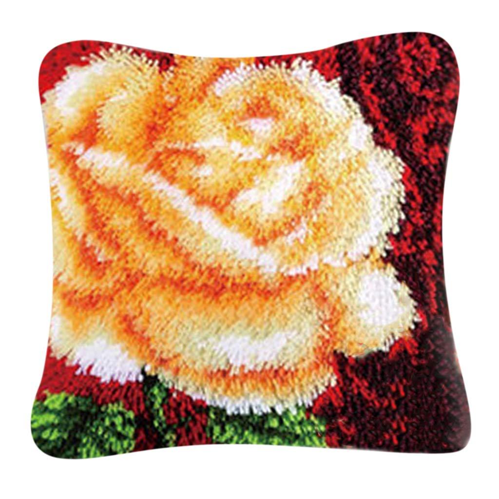 Kn/üpfpackung zum Fertigen eines Kn/üpfkissens f/ür Erwachsene und Kinder Latch Hook kit IPOTCH Kissen Kn/üpfset mit Rose Blume Motiv 40x40cm