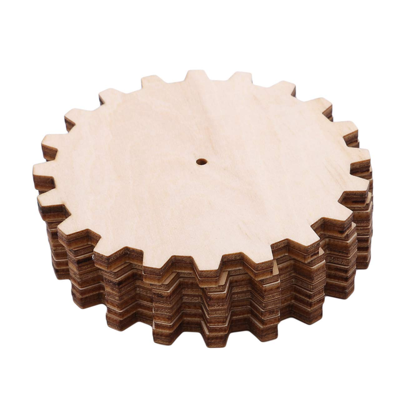 Bigsweety 10pcs Unfinished Wooden Gear Puzzle Hand Drawn Doodle Accessories for Board Game Pieces Arts Crafts Projects Ornaments #1