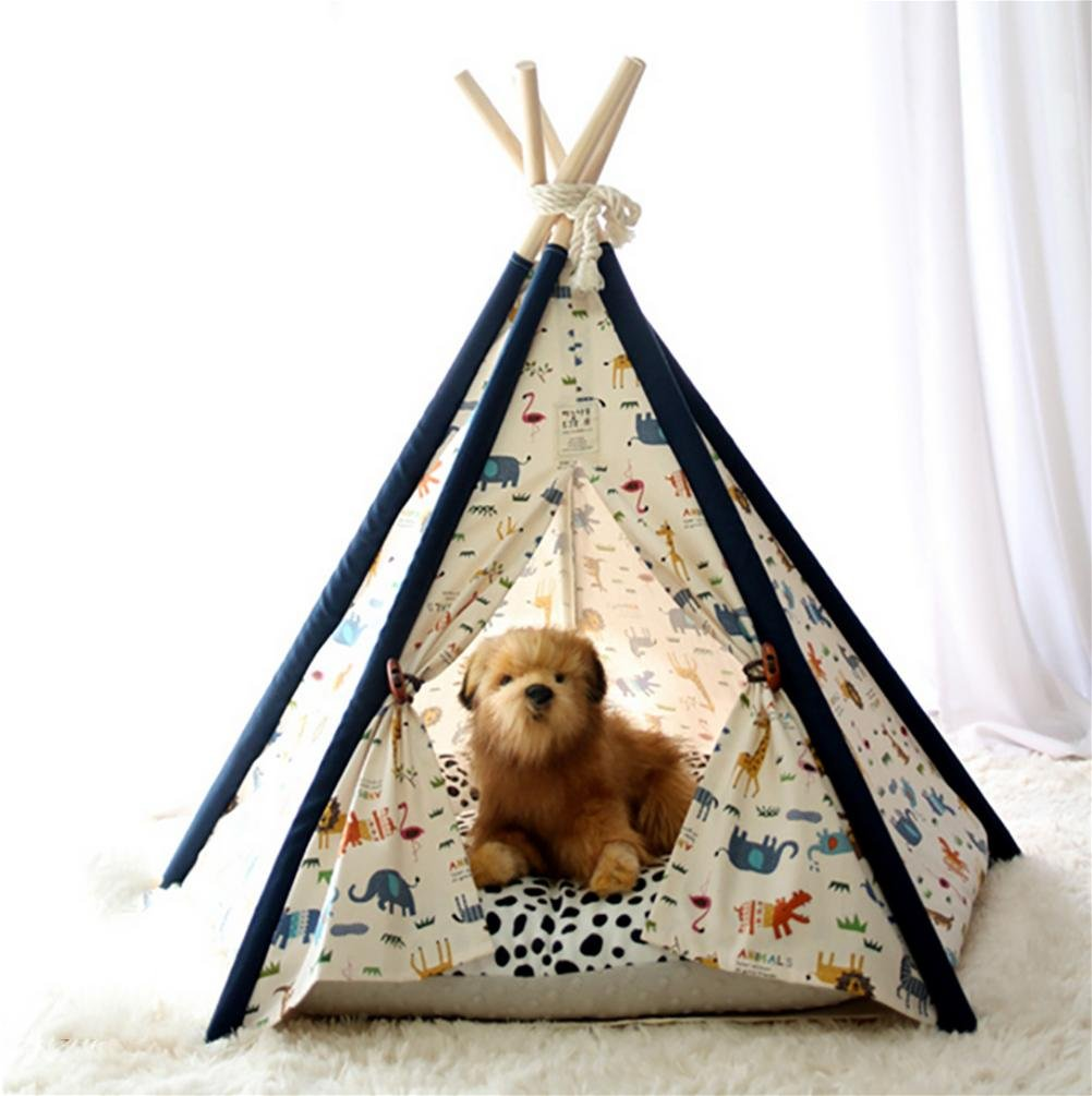606070CM MEIQI Pet Teepee Cat Bed House Tents Canvas Wood Dog Puppy Fold Away Pet Tent Furniture Portable