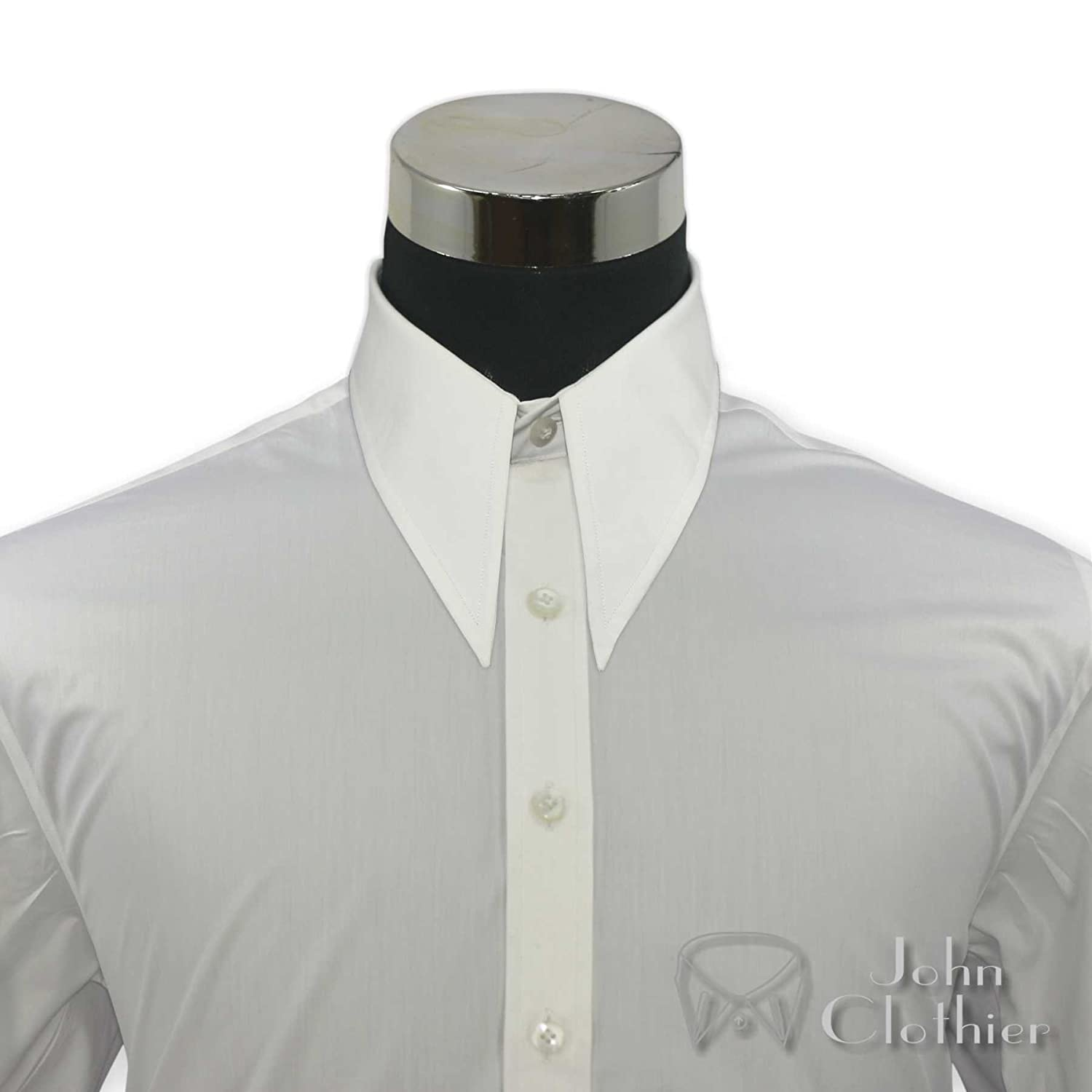 1940s Mens Clothing Mens Spear Point Collar White Shirts Vintage Classic 100% Cotton Relax fit Shirts $89.99 AT vintagedancer.com
