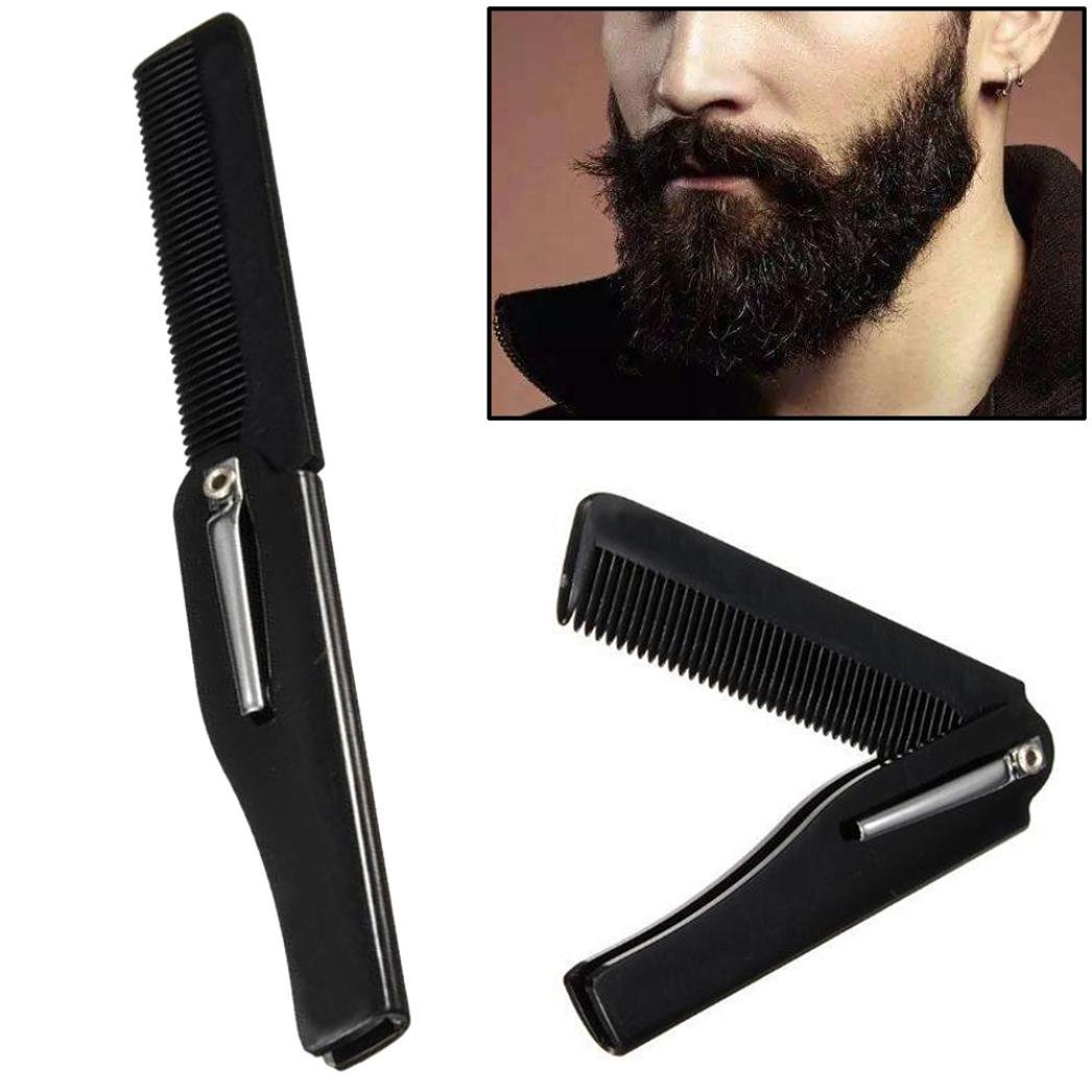 Huphoon Pocket Folding Mustache Hair Comb Detangle Haircut Tool Best Gift for Man Barber Women